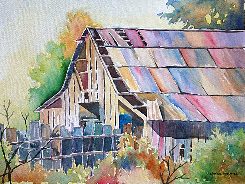 Colorful Old Barn in Watercolor
