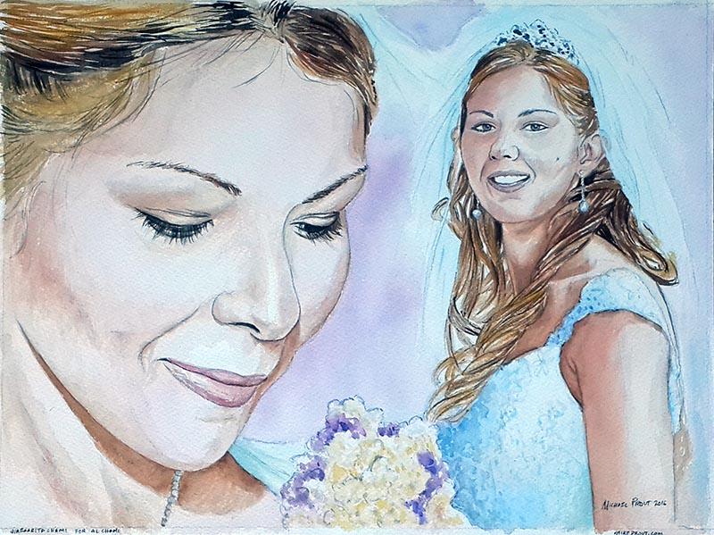 Margherita's Wedding Bridle Watercolor Portrait