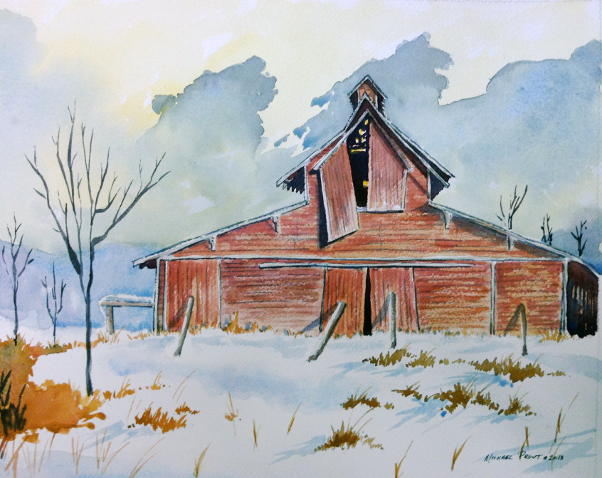 Scenic indiana mike prout for Watercolor barn paintings