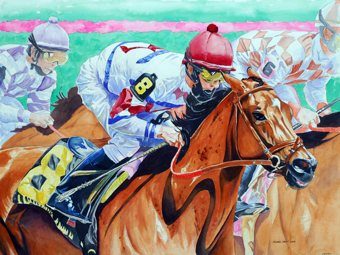 In the Zone Watercolor Painting of Race Horses
